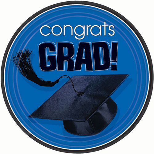 Blue Congrats Grad Dinner Plates (18ct)