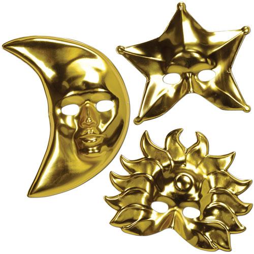 Metallic Sun, Moon & Star Masks