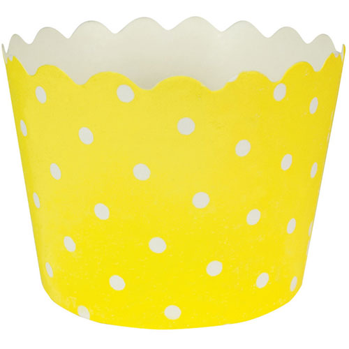 Yellow Baking Cups w/Polka Dots