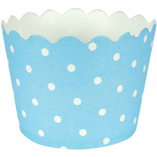 Baking Cups w/ Polka Dots, Pastel Blue