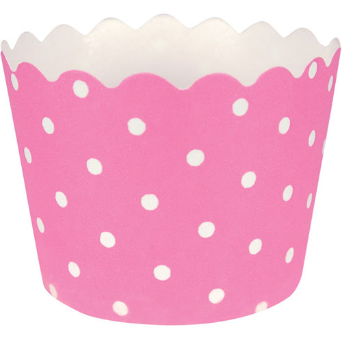 Baking Cups w/ Polka Dots, Candy Pink