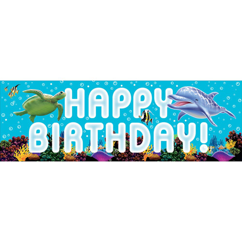 Ocean Party Giant Party Banner, w/ Stickers