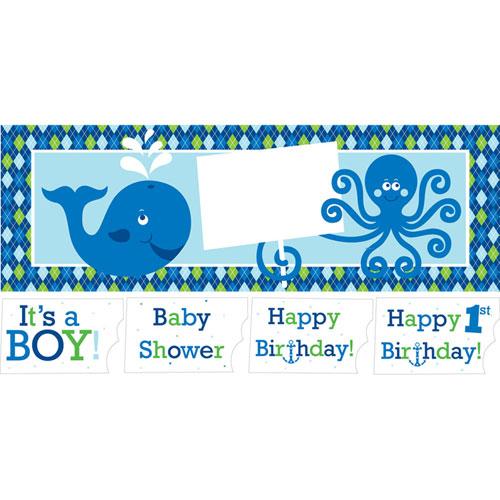Ocean Preppy Boy Giant Party Banner