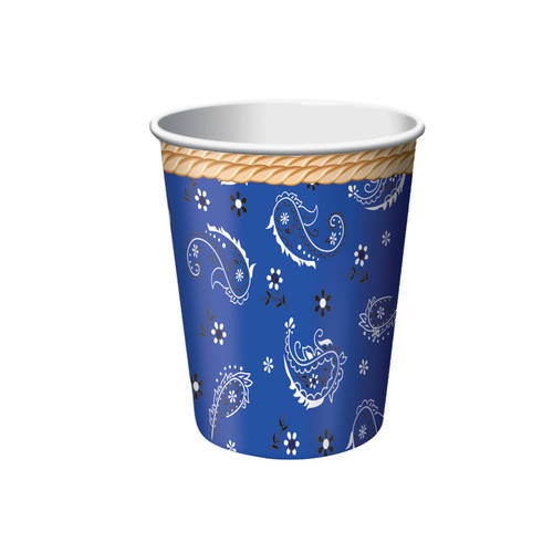 Blue Bandana Cowboy 9oz Paper Cups (8ct)