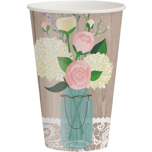 Rustic Wedding 12oz Hot/Cold Cups (8ct)