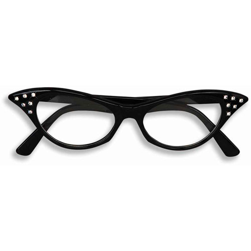 50's Rhinestone Glasses - Black