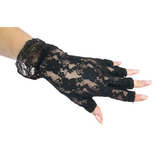Black Fingerless Lace Gloves