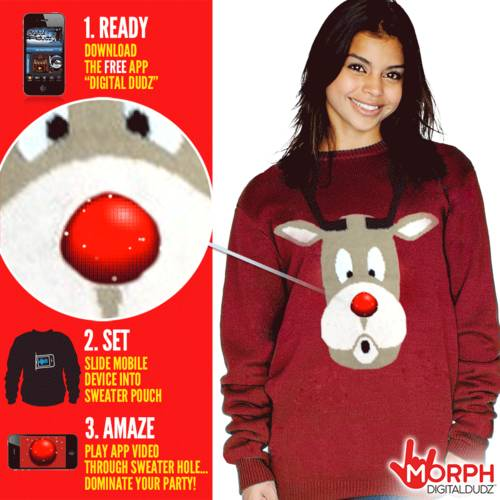 Red Snowglobe Rudolph Nose Sweater Mens Large