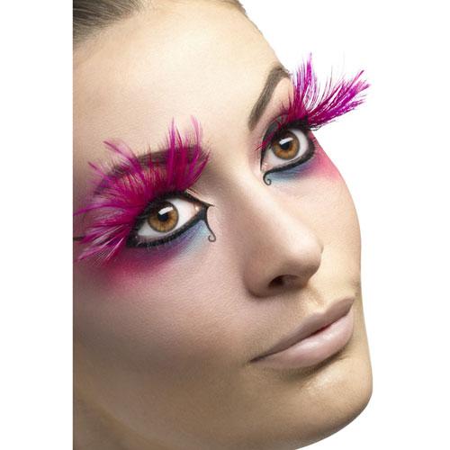 Long Pink Feather Eyelashes