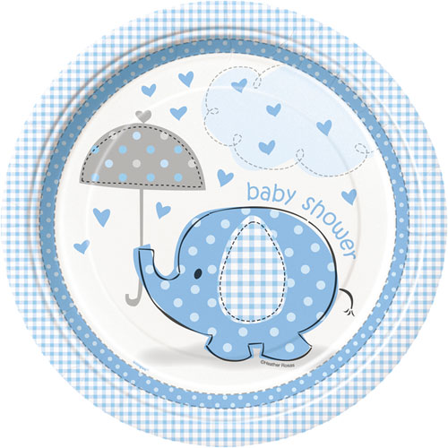 Umbrellaphants Blue Dinner Plates