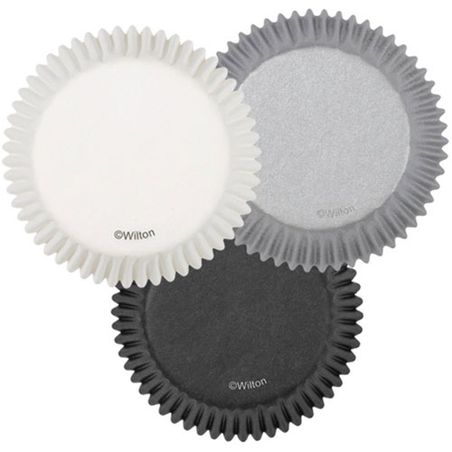 White, Black and Silver Standard Baking Cups